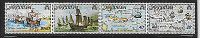 Anguilla , Discovery Of W. Indies , 1973 , Strip Of 4 , Perf, Mnh