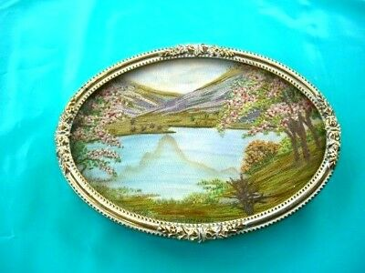 "Vintage Hand embroidered silk framed picture. Lake scene 4.5""  x 3"""