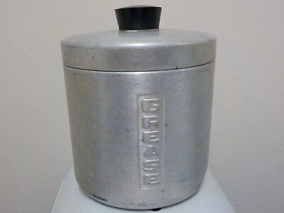 """Vintage Aluminum Grease Canister Made in Italy, about 4.5 x 4.5"""""""