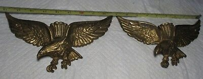 Pair of Vintage Brass American Bald Eagle Single Candle Wall Sconces patriotic