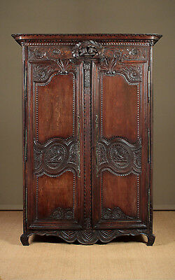 Antique French Carved Oak Armoire c.1790.