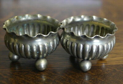 antique silver plate now brass pair of TABLE SALT