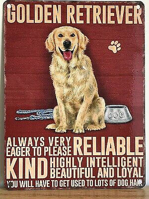 20cm metal vintage style Golden Retriever breed character hanging sign plaque