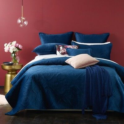 Bianca Dynasty Coverlet Set Navy Blue in All Sizes