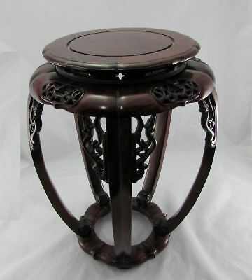 """Vintage Carved Chinese Hardwood Stand Side Table 17.5"""" Excellent"""