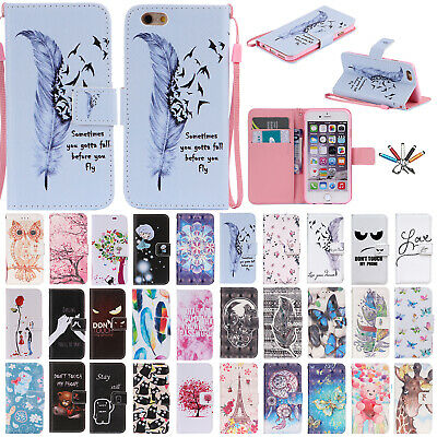 For iPhone 6S 7 8 Plus Magnetic Flip Wallet Card Slot Stand Patterned Case Cover