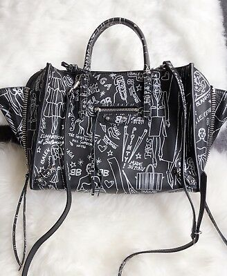 11e30853dd2241 Brand New Balenciaga Leather Papier A6 Zip Around Graffiti Tote Bag Black  Silver