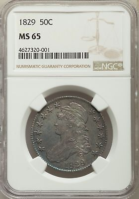 1829 US Silver 50C Capped Bust Half Dollar - NGC MS65