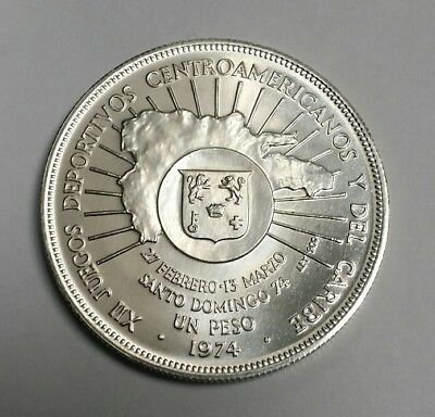 1974 Dominican Republic Silver 1 Peso Choice Brilliant Uncirculated