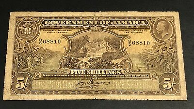 Jamaica Government of Jamaica , 5 Shillings Pick 32 Dates 1918