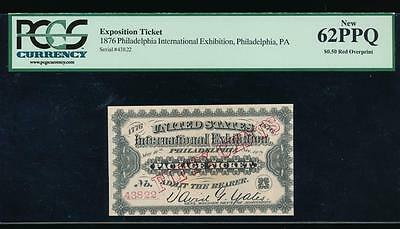 AC 1876 Philadelphia Exposition ticket $0.50 red overprint PCGS 62PPQ