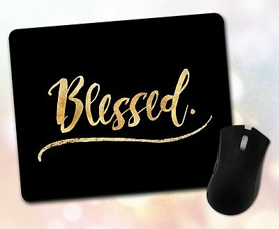 Custom ~ Inspirational Quote, Blessed, Gold, Gift, Decor ~ Vivid Mouse Pad