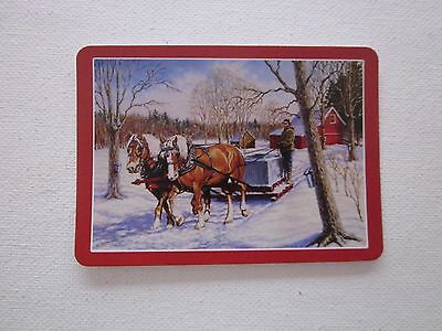 ONE SWAP CARD - WORK HORSES IN THE SNOW - ART - STUNNING - Unused Condition