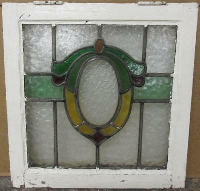 "OLD ENGLISH LEADED STAINED GLASS WINDOW Colorful Wreath 18.25"" x 18.75"""