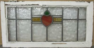 """OLD ENGLISH LEADED STAINED GLASS WINDOW TRANSOM Cute Abstract 31.5"""" x 16"""""""