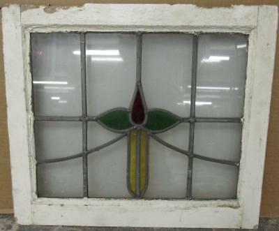 "OLD ENGLISH LEADED STAINED GLASS WINDOW Pretty Floral Sweep 20.5"" x 17.5"""