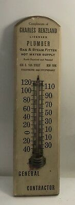 New York/Thermometer/ wood adv sign /Charles Renzland /Licensed Plumber As Is