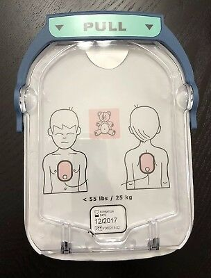 Philips ONSITE AED Child Pediatric pads. Exp. 12/2017. FOR TRAINING ONLY.