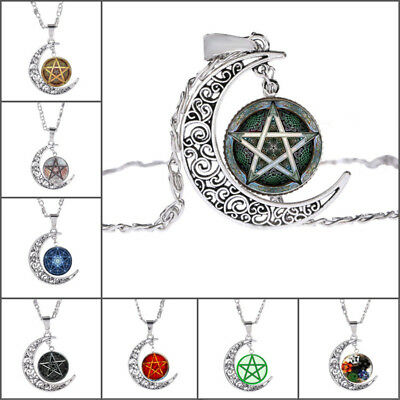 Women Galactic Glass Cabochon Pendant Silver Crescent Moon Star Necklace Jewelry