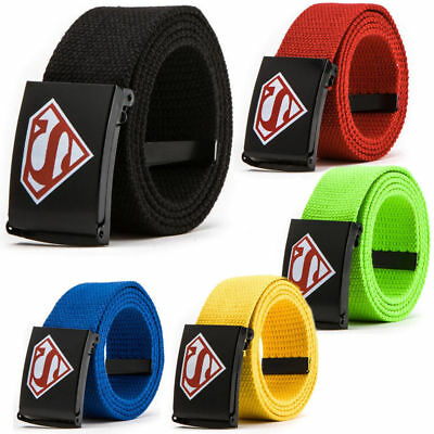 Boys Children Canvas Belt Adjustable Superman Buckle Waistband 110cm Length