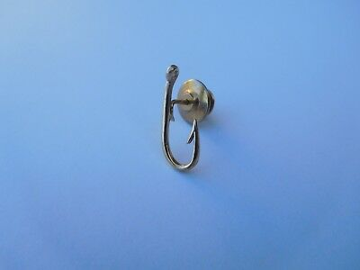 Extremely Rare Early 1900s Tiffany 14K Gold Water Fish Fishing Hook Lapel Pin !