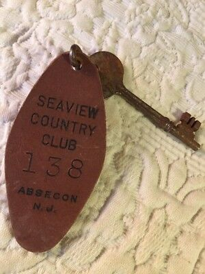 SEAVIEW COUNTRY CLUB ROOM 138 Vintage Cardboard Hotel Room Fob & Skeleton Key