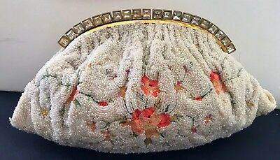 Rare French Vintage Beaded Petit Point Evening Purse Flowers & Jeweled Frame