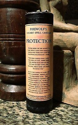 Protection Spell Pillar Candle - Handmade, Organic, Wicca, Witchcraft, Hoodoo