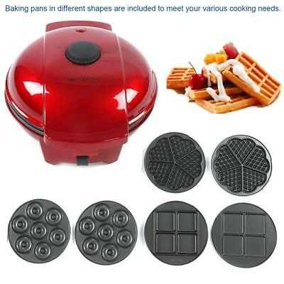 Electric Nonstick Waffle Maker Egg Roll Cone Bakeware with 6 Baking Pans 220V