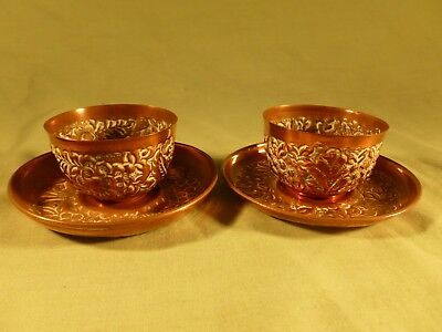 Pair of Antique Arts & Crafts Copper Cups and Saucers