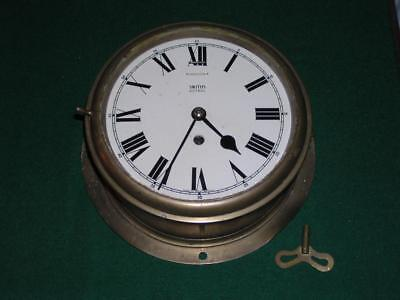 "Smiths Astral Brass Ships Clock 8"" face, back plate 10.5"" inch"