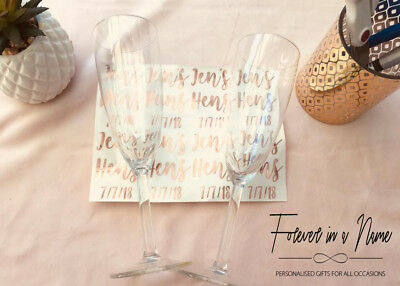 DIY Personalised Decal Sticker Hens Glass #Bridetribe etc
