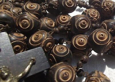 Antique French Rosary Beads Large carved wooden beads monastic priest