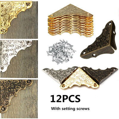 12x 37mm Jewelry Chest Wine Wood Box Picture Frame Decor Corner Protector Guard
