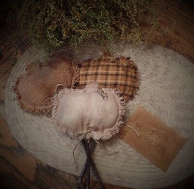 Primitive Pumpkin Pokes~Autumn~Pumpkin Patch Stained Tag~Twine Bow