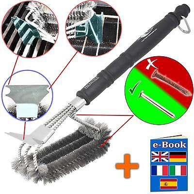 New Premium Stainless Steel BBQ Grill Brush Rustproof Long Handle Cleaning Tool