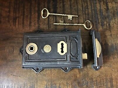 "Dual Handed Cast Iron and Brass Davenport Rim Lock/Door/Rustic/Vintage 5"" X 7"""