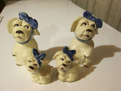 2 Sets Sm. & Lg Shawnee Muggsy Toothache Salt & Pepper Shakers Minty With Corks.