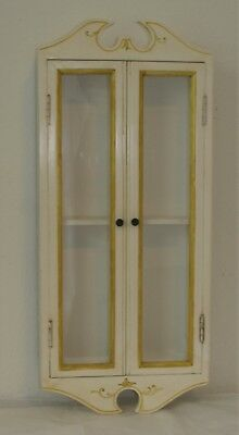 Antique Hand Crafted Wood Glass Italian Wall Mounted 2 Door Curio Display Case