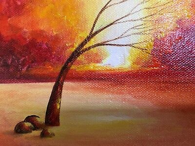 """ORIGINAL NEW SMALL 5""""x7"""" HAND PAINTED ACRYLIC RED LANDSCAPE PAINTING ON CANVAS."""