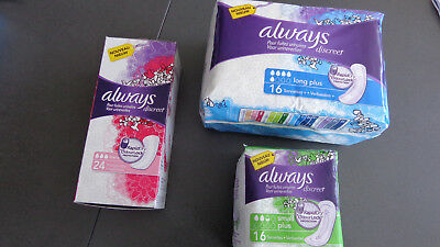 ALWAYS DISCREET : 2 x 16 serviettes (long plus + small plus) + 1 x 24 protège s