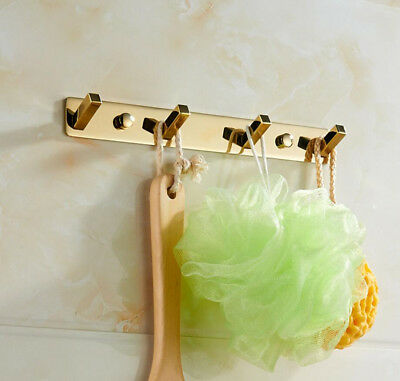 Brass Bathroom Accessory Wall Mounted Hooks Hanger Bath Towel Clothes Holder K25