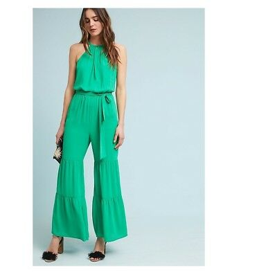 dcd1cd3624ad ANTHROPOLOGIE TIERED WIDE-LEG Jumpsuit new nwt large GREEN L ...