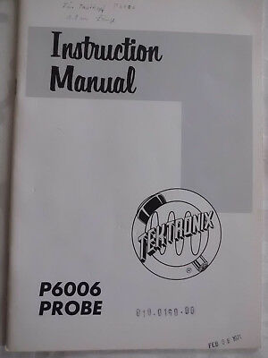 Instruction Manual für Tektronix P6006  Probe  Anleitung - im Original !