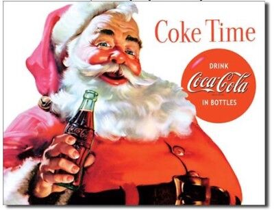 Coca Cola Metal Tin Sign Santa Coke Time Home Bar Shop Garage Wall Decor New