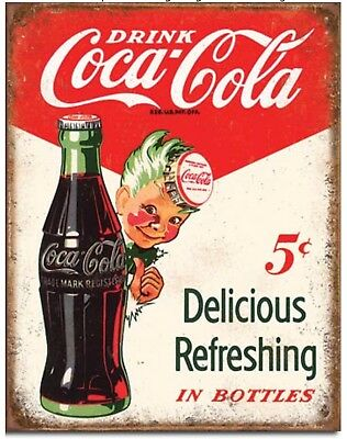 Drink Coke Metal Tin Sign Coca Cola 5 Cents Home Vintage Look Wall Decor New