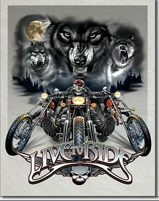 """Sturgis Live To Ride Metal Tin Sign Wolves Motorcycle Rally New 12.5"""" X 16"""""""