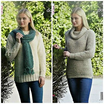KNITTING PATTERN Ladies Cowl Neck or Round Neck Jumper & Scarf DK King Cole 5253