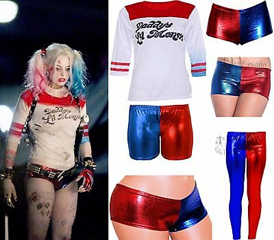 Ladies Halloween Suicide Squad Fancy Dress Harley Quinn Costume Legging Knicker