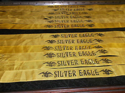 Lot of (6) Rare Antique SILVER EAGLE Silk Cigar Band Ribbons For Cigar Quilts